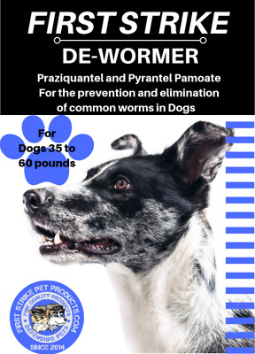 Dewormer for Medium Dogs 35 to 60 pounds broad spectrum 3 Capsules