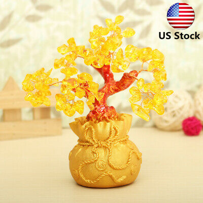 US Feng Shui Wealth Lucky Citrine Yellow Crystal Gem Money Tree in Money Bag Pot