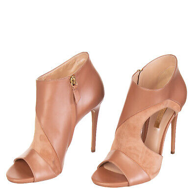5642a1c15c2 CASADEI Leather High Heel Booties Size 39 UK 6 Cut-Out Open Toe Made in