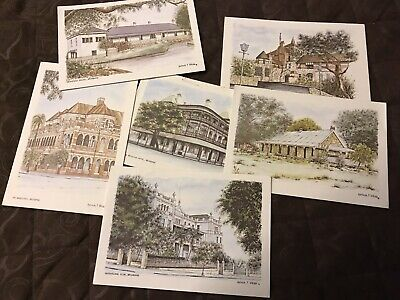 6 Folded Cards Brisbane Historical Buildings Letter Cards Watercoloured As New