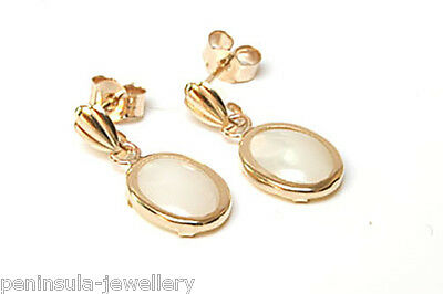 9ct Gold Mother of Pearl oval drop Earrings Gift Boxed Made in UK  Birthday Gift