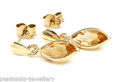 9ct Gold Citrine Drop Marquise Earrings Made in UK Gift Boxed Birthday Gift