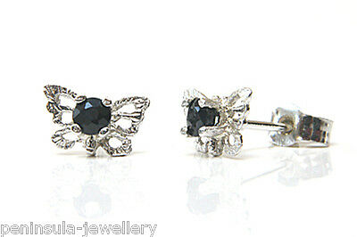 9ct White Gold Sapphire Butterfly Stud earrings Made in UK Gift Boxed Studs
