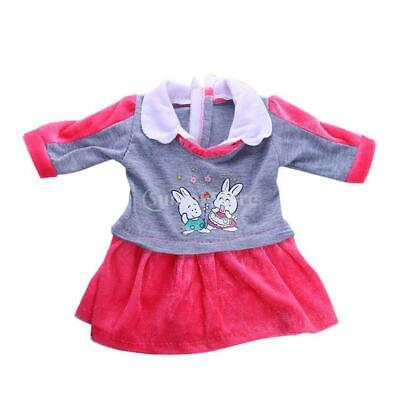 Long Sleeves Dress Doll Clothing Outfit for Ameircan Girl 18inch Dolls Accs