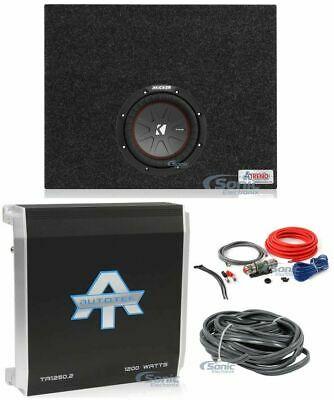 "Kicker 43CWR82 COMPR8 8"" 600W Car Subwoofers+Sealed Sub Box+Amplifiers+Amp Kit"