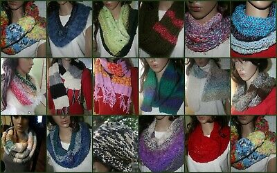 CHOOSE your hand Knitted Cowl, Scarf or Hat crochet tweed-looks furry velvety