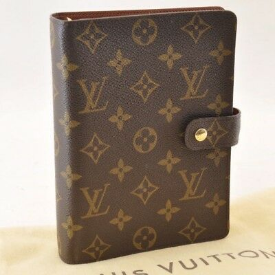 LOUIS VUITTON Monogram Agenda MM Day Planner Cover R20105 LV Auth sa1394