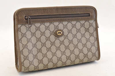 251f5babf AUTH GUCCI GG Old Gucci Beige Brown PVC Leather Mens Clutch Bag ...