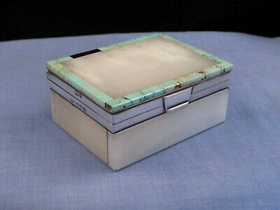 ART DECO ANTIQUE STERLING SILVER TURQUOISE ONYX DESKTOP TRINKET STAMP BOX 1920s