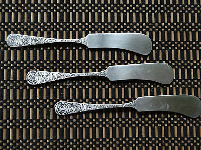 Three Aesthetic pattern floral artisan made antique  sterling butter knives