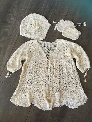 *Vintage* Crochet Baby Set - Dress, Bonnet And Bootees