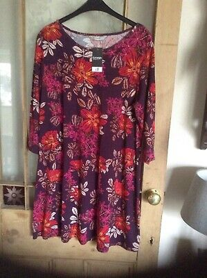 Ladies George Purple stretch Floral Longer Tunic Top Size 16 BNWT