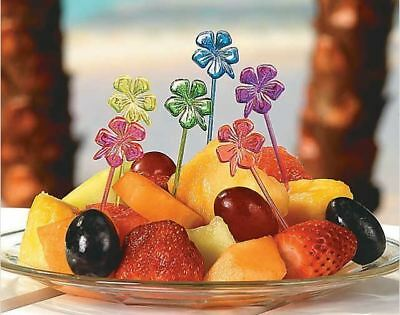 72 Hibiscus Flower Food Cocktail Appetizer Picks Cupcake Topper New