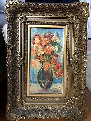 Antique Oil Painting Impressionist Still Life Flowers F. VALLEE Elaborate Frame