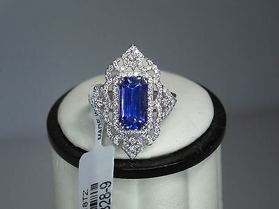 Nwt 14K White Gold 3.70 Ct Emerald Cut Tanzanite .61Ct  Diamond Cocktail Ring