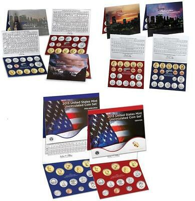 US Mint Uncirculated P & D Coin Sets 2007 2009 & 2013 Sealed Brown Boxes