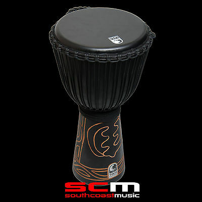 """Toca Black Mamba Djembe 10"""" Hand Carved Drum With Padded Carry Bag Simply Superb"""