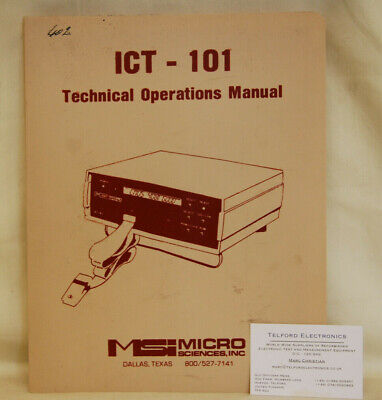 Micro Sciences INC. ICT-101 Intergrated Circuit Tester Technical Operations