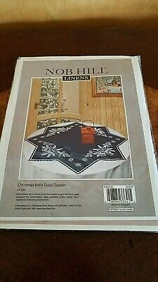 "Nob Hill Christmas Bells Embroidery Table Topper Kit  21 330   30"" x 30"" Navy"