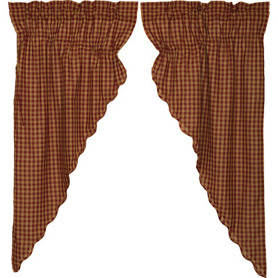 "BURGUNDY TAN PRAIRIE CURTAIN SET Check Plaid 63""L 36""W Farmhouse Rustic Country"