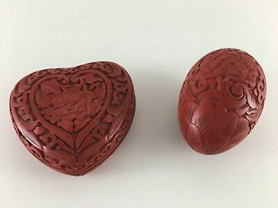 Heart trinket box and egg red carved cinnabar black laquer enamel