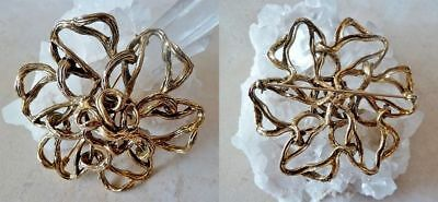 VTG Big ZENTALL PIN BROOCH gold ABSTRACT Twist BRANCH Flower MidCent Glamour 60s