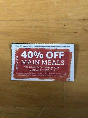 1 BEEFEATER VOUCHER Valid  - 4th March 2019 - 3rd June 2019 Inclusive