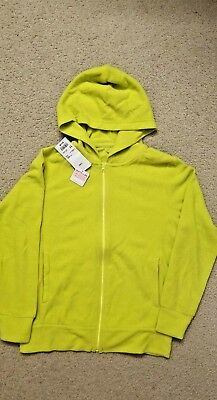 9824f6cc1a0 NWT Girls Uniqlo Fleece lime Full Zip Hoodie Long Sleeve Jacket size 11Y