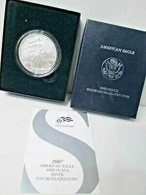 2007 W American Eagle Burnished Uncirculated Silver Dollar Coin