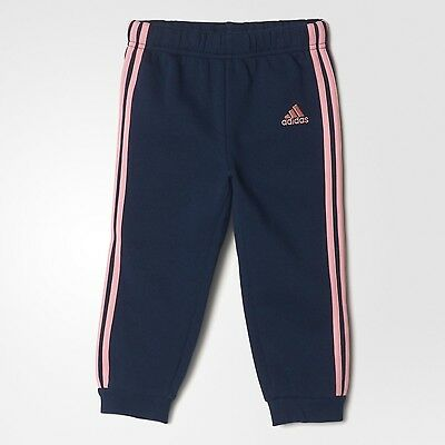 ADIDAS Infant Girls Fleece Joggers Navy Pale Pink Size 3-6 Months