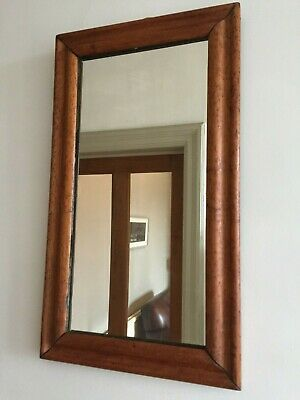 Antique Bird's Eye Maple Wall Hall Mirror Vertical Victorian Edwardian 60cm m160