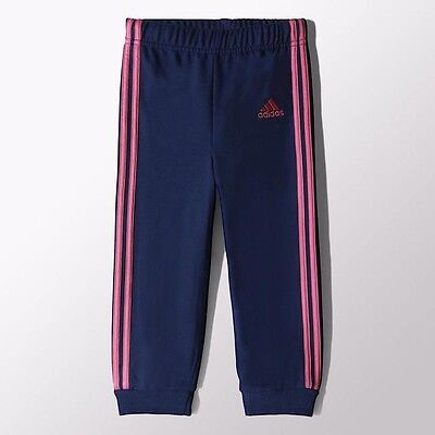 ADIDAS Infant Girls Fleece Joggers Navy Hot Pink Size 3-6 Months