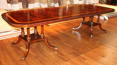 Outstanding Flame Mahogany Slim Profile Regency Dining Table W 2 Leaves MINT