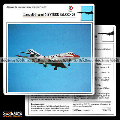 #027.20 DASSAULT BREGUET MYSTERE FALCON 20 - Fiche Avion Airplane Card