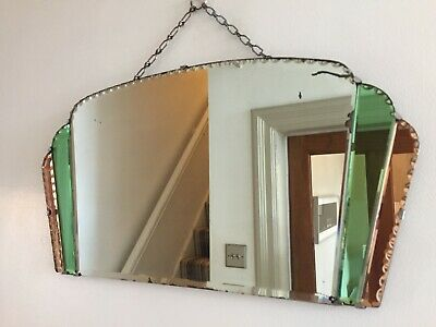 Vintage Art Deco Frameless Green & Peach Tinted Fan Mirror 1930s Bevelled m159