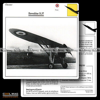 #116.13 DEWOITINE D 37 - Fiche Avion Airplane Card