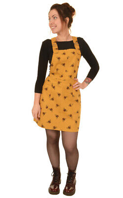 Run And Fly Bee Yellow Mustard Retro Stretch Twill Pinafore Dungaree Dress 8-16