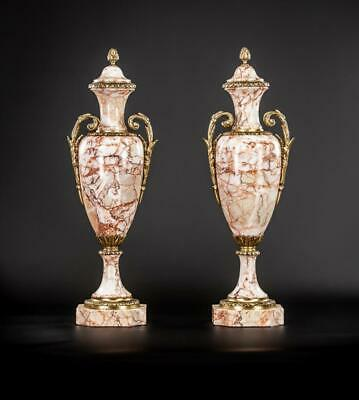 """Pair of Urns   Two Cassolettes French Antique Pink Marble and Gilt Bronze   17"""""""