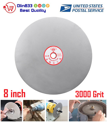 "8"" Inch 3000 Grit Diamond Coated Flat Lap Wheel Lapidary Grinding Polishing Disc"