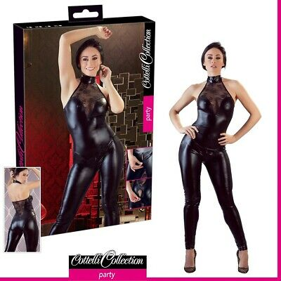 Donna Sexy Tuta nera Wetlook e pizzo Jumpsuit Madison Cottelli Party Lingerie