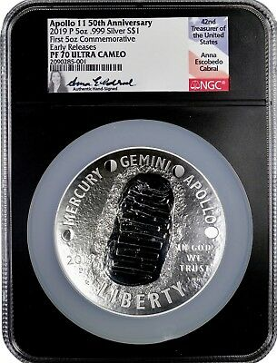 2019 P 5 oz Apollo 11 50th Ann Proof Silver $1 NGC PF 70 ER ANNA CABRAL SIGNED!