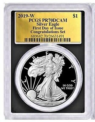 2019-W $1 Proof Silver Eagle PCGS PR70 DCAM FDOI CONGRATULATIONS Set Gold Foil