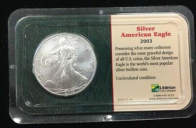 2003 American Silver Eagle Uncirculated Littleton Coin Company ~ Free Shipping