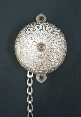 Antique 1873 Ornate Silver Toned Brass Door Bell With Pull Chain