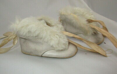 Antique Baby Shoes Fur Boots Leather White VICTORIAN BABY CHILD Booties Mukluks