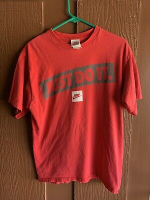 9adf940e80f8a VINTAGE 90S NIKE T Shirt size M Adult Just Do It Black Swoosh Spell Out USA