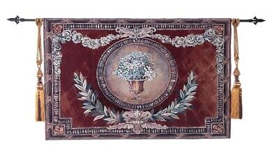 FRENCH AUBUSSON VASE FLOWERS CREST JACQUARD LOOM WOVEN TAPESTRY 140 x 95 cm