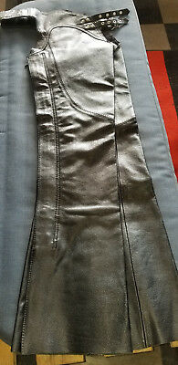 Ladies Black Leather Chaps Xs Low Lace Up Thigh Nice Guc