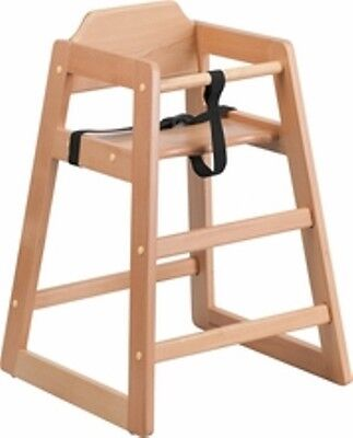 New Assembled Commercial Light Oak High Chair With Support Straps Free Shipping