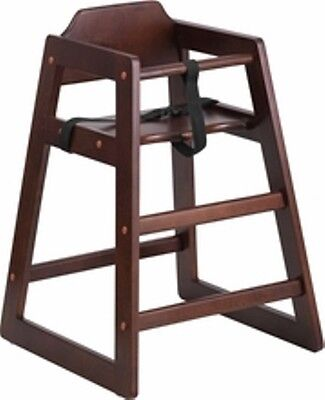 New Assembled Commercial Walnut High Chair With Support Straps Free Shipping